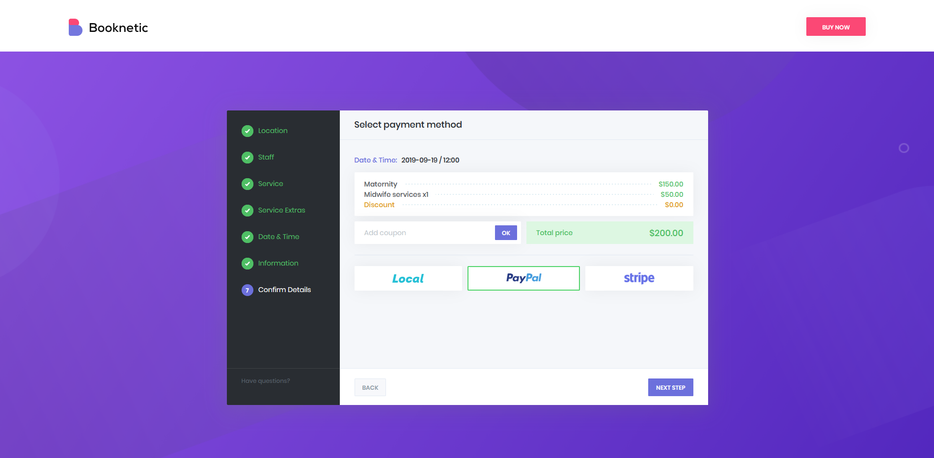 Booknetic - Payment methods: PayPal, Stripe, Local payment method and WooCommerce