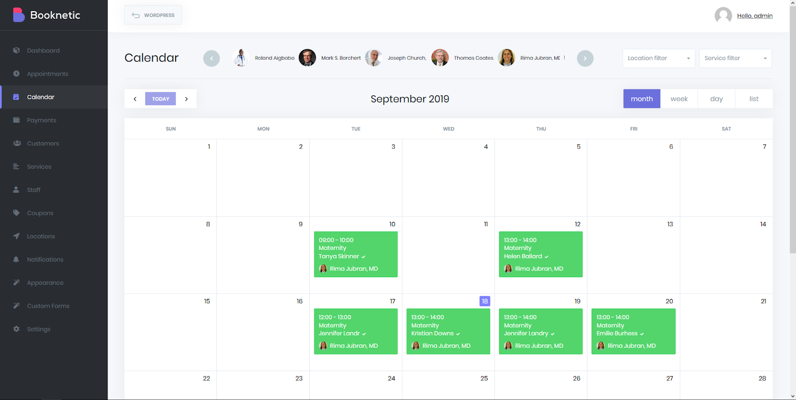 Booknetic Calendar documentation
