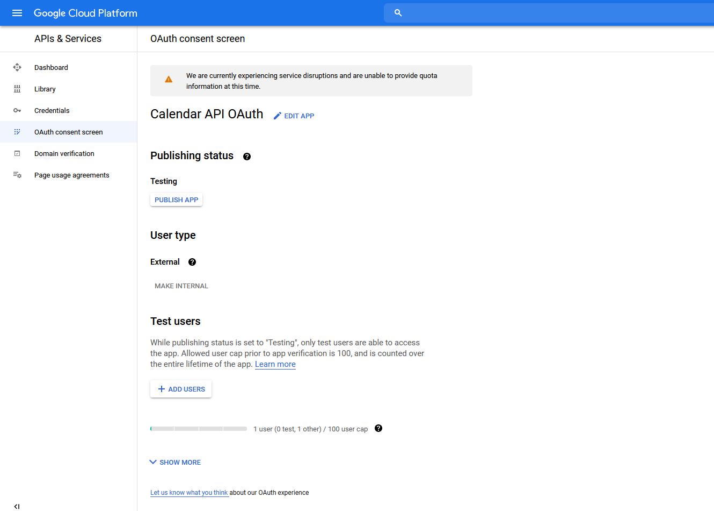 Google Calendar Publish APP