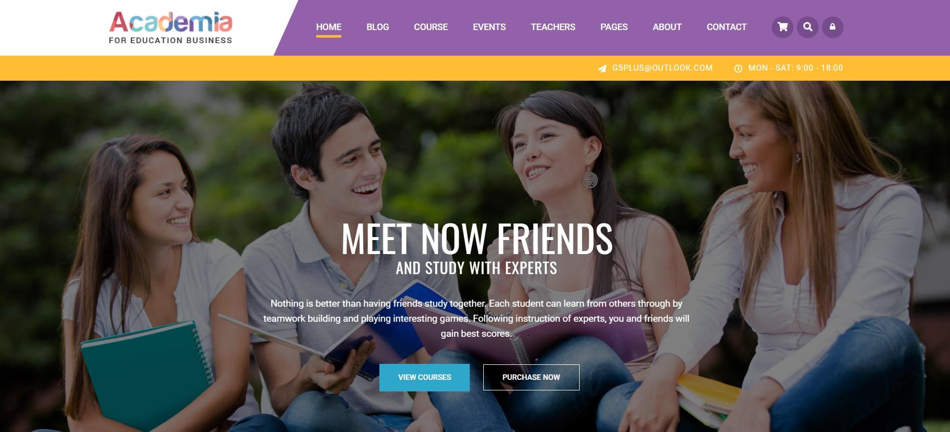 Academia wordpess theme for education websites